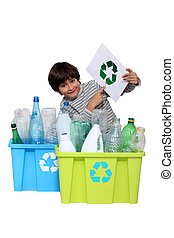 poco, niño, reciclaje