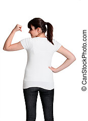 Young girl showing the back of her t-shirt