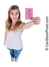 Young woman with a French drivers license