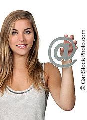 mujer, internet, símbolo