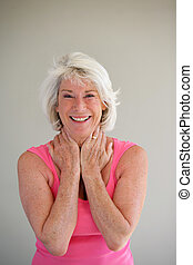 Excited gray-haired lady