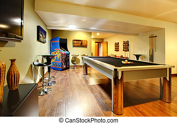 Play party room home interior with pool table - Fun play...