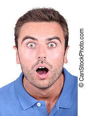 portrait of a surprised man