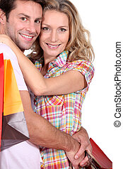 portrait of a couple with shopping