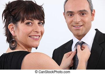 fijación, mujer, hombre, corbata