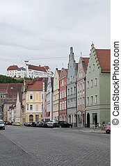 Colorful houses at Landshut street, Germany