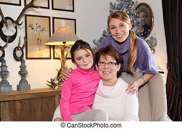 Girl with her mother and grandmother