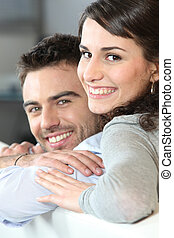 Young couple cheerful