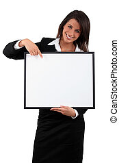Smiling business woman with a blank board ready for text or...