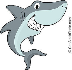 happy shark - vector illustration of friendly shark isolated...
