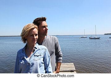couple on seaside