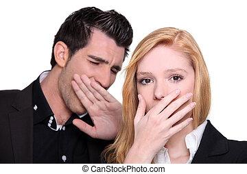 Couple yawning
