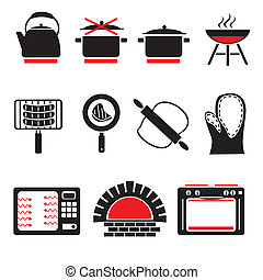 cooking icons - set vector icons of cooking food and...