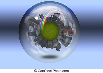 Sphere enclosed green city planet