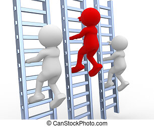Ladder - 3d people - human character, person climbing a...