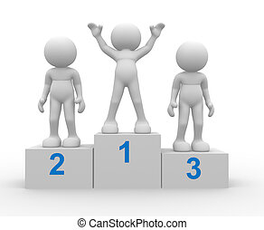 Winning - 3d people - human character, person on podium...