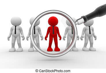 Big magnifier - 3d people - human character, person with tie...