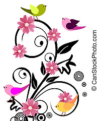 Floral design with birds - Vector illustration of colorful...