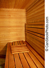 Interior of a hotel sauna, modern wooden design