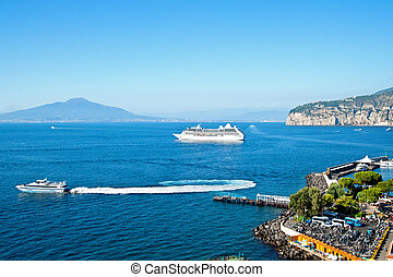 Gulf of naples with cruiser liner and mount vesuvio