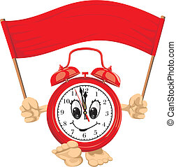 red alarm clock with banner - clock face, wake up, time is...