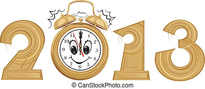 2012 - new year and alarm clock