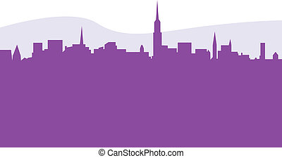 Vector skycraper silhouette isolated on white - New York...