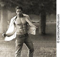 Classic male portrait - Classic portrait of muscular man...
