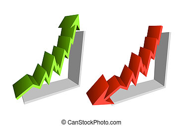 Up down finance chart arrows - Illustration as 3d arrows for...