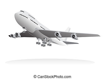 Passenger aircraft leaving ground - illustrated passenger...