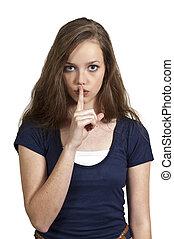 Woman Saying Be Quiet - A woman saying be quiet by saying...