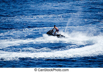 jetski on the blue water
