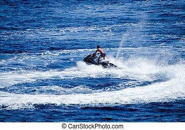 jetski on the blue water