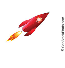 retro space rocket - red retro space rocket vector...