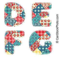 Quilt alphabet. Letters D, E, F, G. Vector illustration.