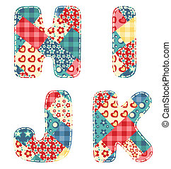 Quilt alphabet. Letters H, I, J, K. Vector illustration.