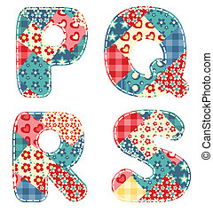 Quilt alphabet Letters P, Q, R, S Vector illustration