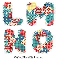 Quilt alphabet. Letters L, M, N, O. Vector illustration.