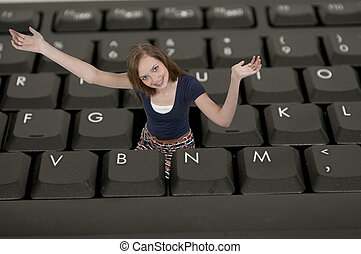 Woman Using Laptop - A beautiful computer savvy young...