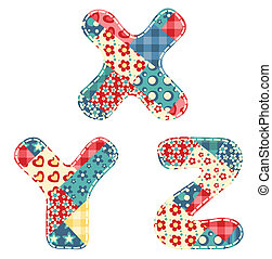 Quilt alphabet Letters X, Y, Z Vector illustration