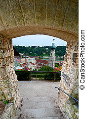 Embrasure - View to the Bavarian Town of Bughouse and River...