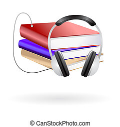 Audio books clip art - Illustration of stack of books with...