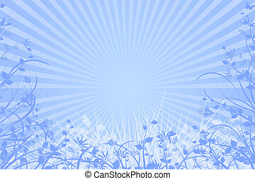 Natural light blue background - Beams background with nature...
