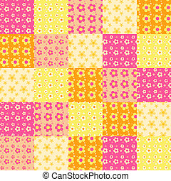 Seamless patchwork pattern 3 - Seamless patchwork flowers...