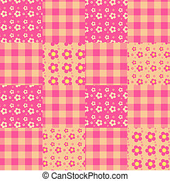 Seamless patchwork pattern pink.