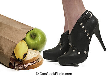 High Heels and Lunch - A woman wearing sexy high heeled...