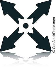 Four Diagonal Arrows With Dot