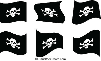 Pirate Flags - Vector Illustration of Pirate Flags Waving