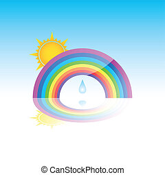 Rainbow With Sun and Rain Drop Illustration jpeg has...