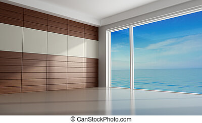 Empty room of an holiday villa with wooden panel - rendering